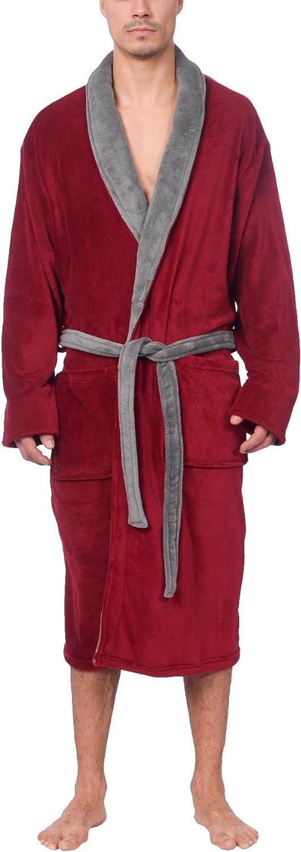 Wanted Men's Lightweight Plush Fleece Shawl Collar Kimono Robe