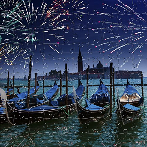 (Mosaic Puzzles Wooden Jigsaw Puzzle - Fireworks Over the Grand Canal in Venice - 103 Unique Pieces Challenge any Puzzle Lover from ages 8 to 98 - Made in the USA by Zen Art & Design)