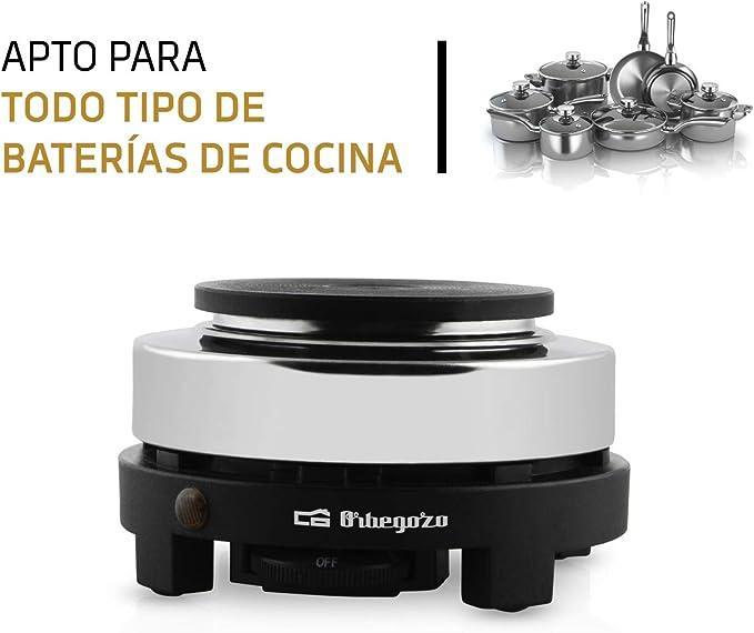 Orbegozo PE 2605 - Placa eléctrica, termostato regulable, indicador luminoso, fácil limpieza, 500 W, color negro