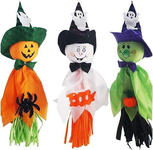 Moinkerin 3 Stucke Hangende Geister Halloween Dekoration Halloween Dekoration Zum Aufhangen Fur Innen Aussen Kindergarten Terrasse Rasen Garten Amazon De Kuche Haushalt