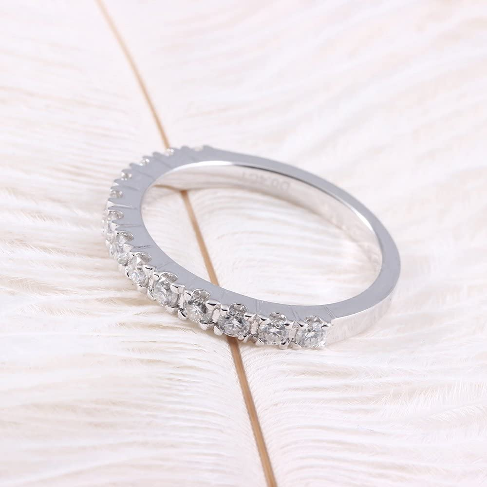 DovEggs 0.4CTW HI 2.26mm Width Moissanite Lab Created Diamond Half Eternity Wedding Band Platinum Plated Silver for Women