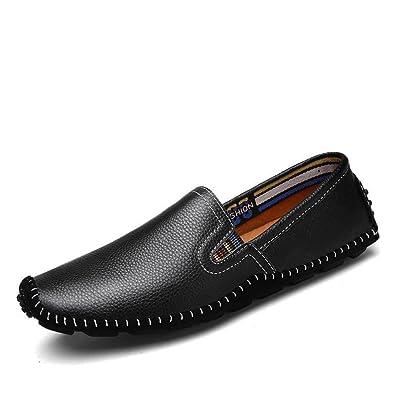 DHFUD Hommes Chaussures Occasionnels Paresseux Chaussures Rondes,Black-37