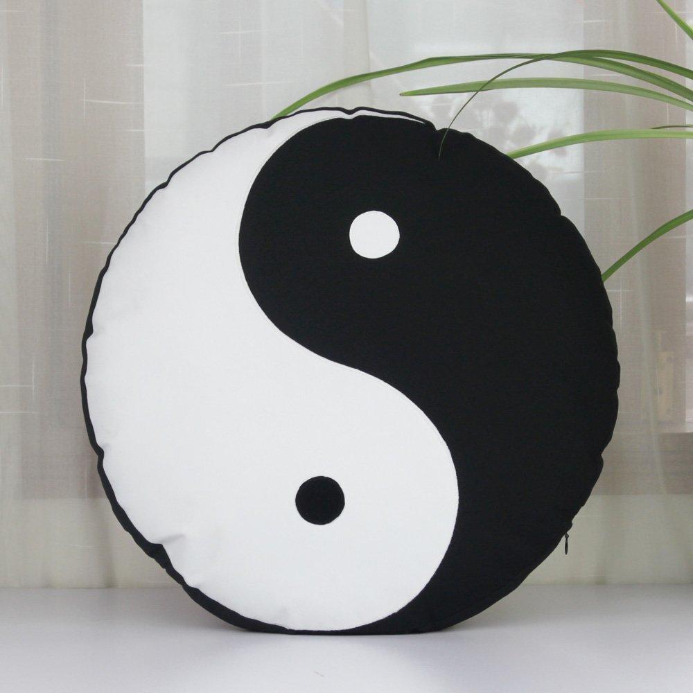 Amazon Com Yin Yang Symbol Tai Chi Cushion Cover Abstract Throw Pillow Covers Handmade Applique Pillowcase Black Pillowcase Throw Pillow 18 18 Handmade