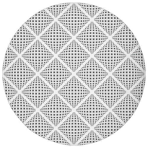 (YVSXO Round Rug Mat Carpet,Grey Decor,Digital Geometric Volumetric Diamond Form with Dynamic Dashed Effects Web Lines Image,White,Flannel Microfiber Non-Slip Soft Absorbent,for Kitchen Floor Bathroom)