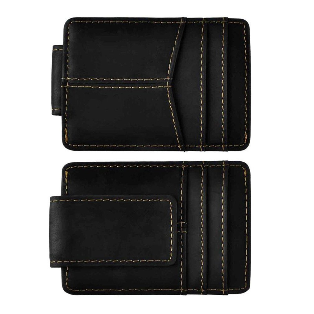 Leather Travel Men Wallet Front Pocket Magnetic Money Clip Mini Card Case Purse