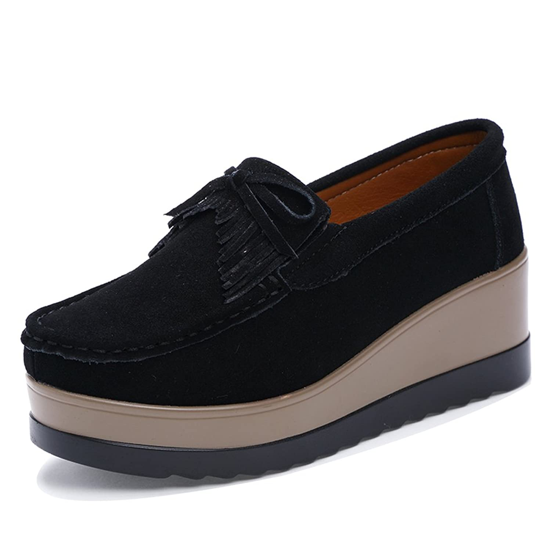 DADAWEN Women s Students  British Style Retro Mid Heel Brogue Tassel Loafer   SFAS8N8XD