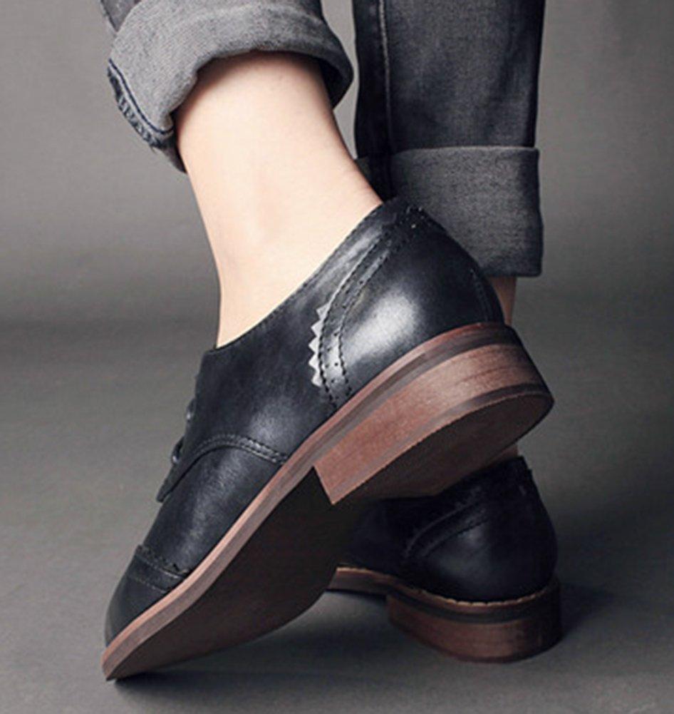 IDIFU Women's Classic Low Chunky Heels Wingtip Lace Up Oxfords Shoes Black 7.5 B(M) US by IDIFU (Image #6)