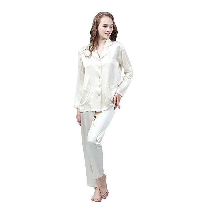 LULUSILK Conjunto de Pijama Largo de Seda 19 Momme con Dos Bolsillos Manga Larga con Pantalones