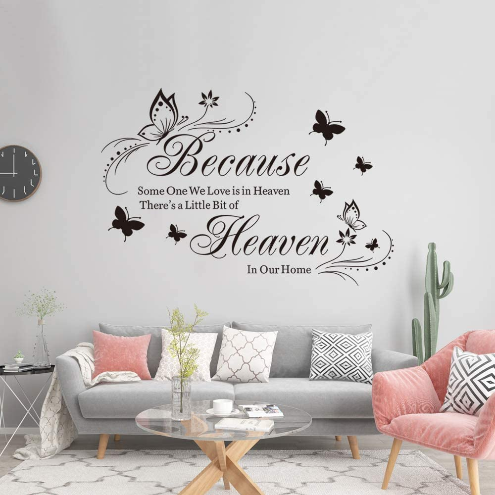 Supzone Because Someone We Love is in Heaven Wall Decals Flowers Quotes and Sayings Butterfly Wall Stickers Big Size Removable Vinyl Art Bedroom Nursery Room Living Room Home Wall Decor