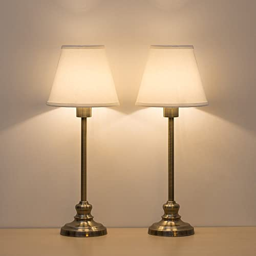 HAITRAL Set of 2 Table Lamps – Modern Desk Lamp with Fabric Shade Metal Base Bedside Lamps for Bedroom, Living Room, Dresser, Coffee Table