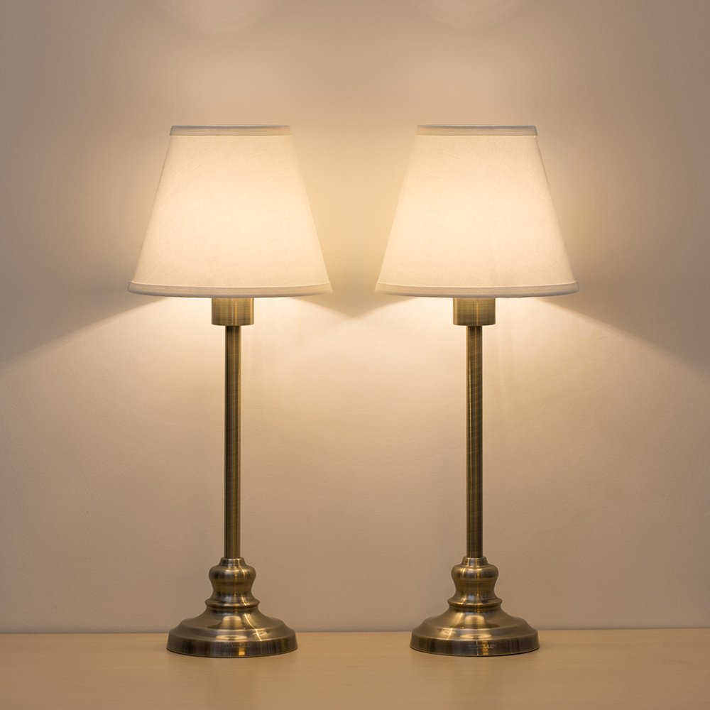 HAITRAL Table Lamps Gold Metal Bedside Desk Lamp with Fabric Shade for Bedroom, Living Room, Dresser, Coffee Table