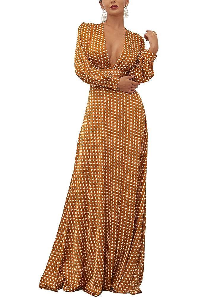 Brown WRStore Women's Boho Polka Dots Long Sleeve DeepV Split Elegant Maxi Dress