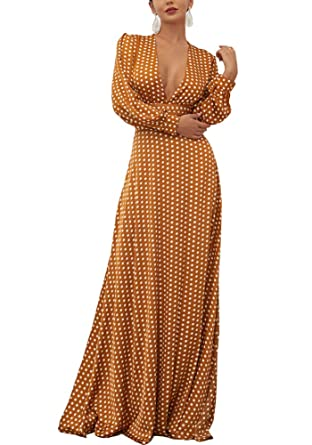 Wr Store Women's Boho Polka Dots Long Sleeve Deep V Split Elegant Maxi Dress by Wr Store