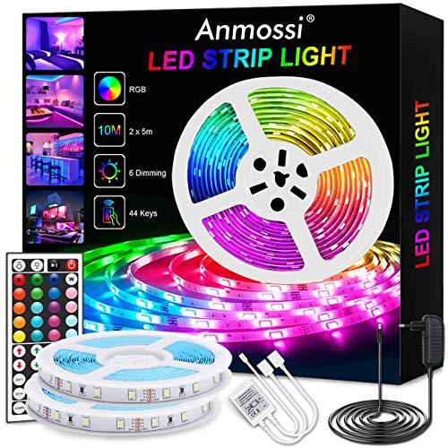 Anmossi LED Strip 10m,RGB LED Streifen mit 44 Tasten Fernbedienung,Farbänderung und Dimmable LED Lichtbändern,SMD 5050 LED Chips Beleuchtung LED Lichtleiste Kit für Heim,Schlafzimmer,Party Dekoration