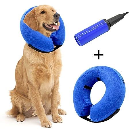 Hengu Collar Inflable de recuperación de Mascotas, Cuello Blando Ajustable para Gatos o Perros,