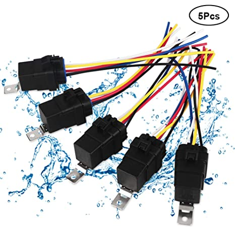 VANJING 5 Pack 40/30 Amp Waterproof Automotive Relay Switch Harness on
