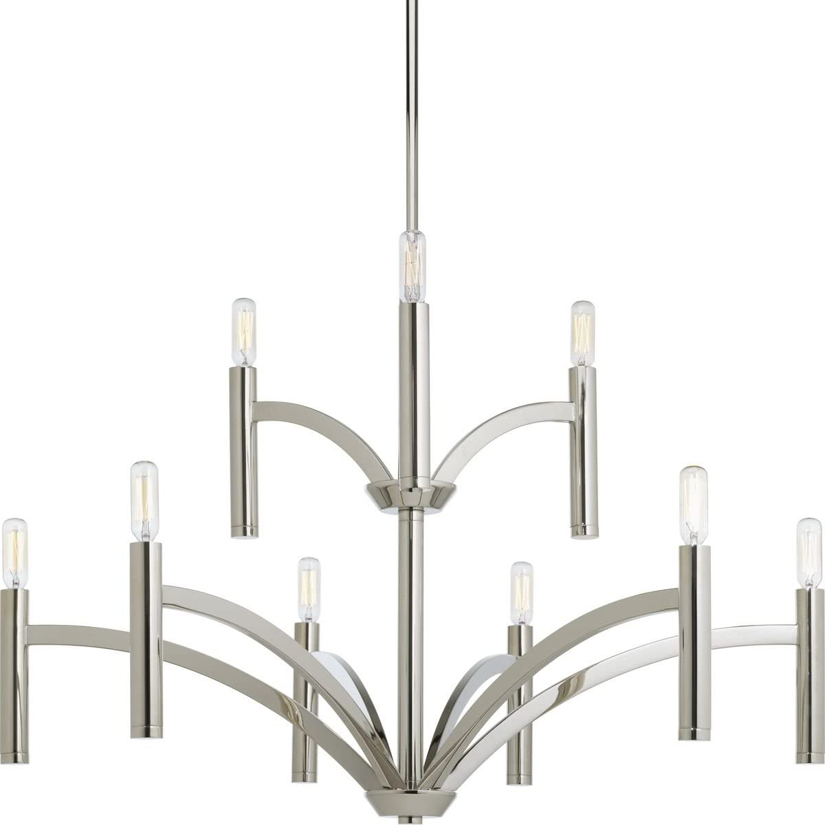 Progress Lighting P4719-104 Transitional Nine Light Chandelier from Draper Collection in Polished Nickel Finish