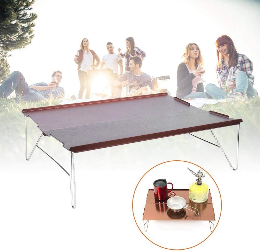 Folding Table-Portable Metal Detachable Indoor Outdoor Picnic Desk Folding Table for Hiking Camping