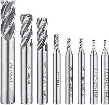 10Pcs End Mill HSS End Mill Cutter Drill Bits for Wood Aluminum Steel Titanium