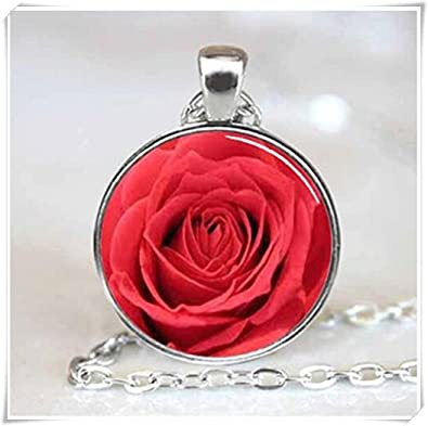 Red rose flower handcrafted necklace pendant amazon jewellery red rose flower handcrafted necklace pendant mozeypictures Image collections
