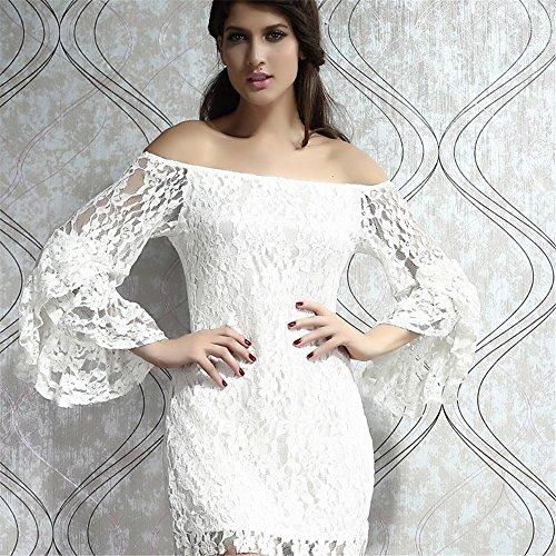 Off Womens Dress Lace BIFINI Shoulder Elegant Mini Bodycon White qvRdw78I