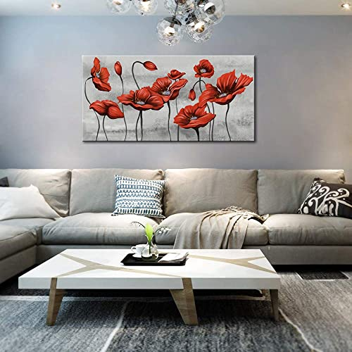 KLVOS Large Flower Canvas Wall Art Giclee Print on Canvas Red Poppy Blossom Floral Artwork Modern Abstract Flower Picture Home Decor Gallery Wrap Girl Living Room Framed Ready to Hang 24 x48inch