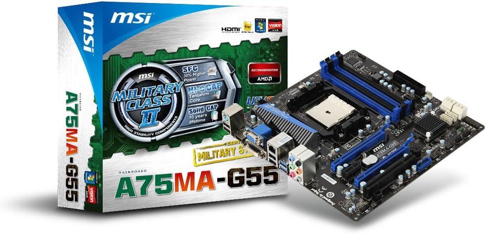 MSI A75MA-G55 Socket FM1 AMD Hudson D3 DDR3 CrossFireX and Hybrid CrossFireX SATA3 and USB 3.0 A&GbE MATX Motherboard