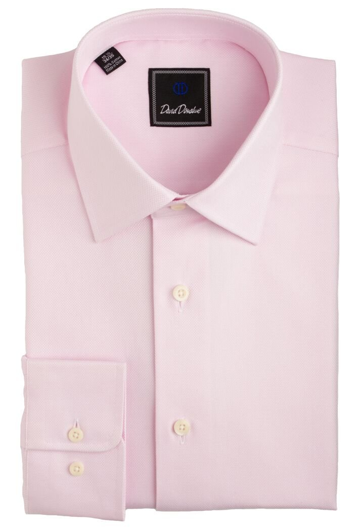 David Donahue Men's Royal Oxford Regular Fit Dress Shirt - Pink: Size 16, 36/37