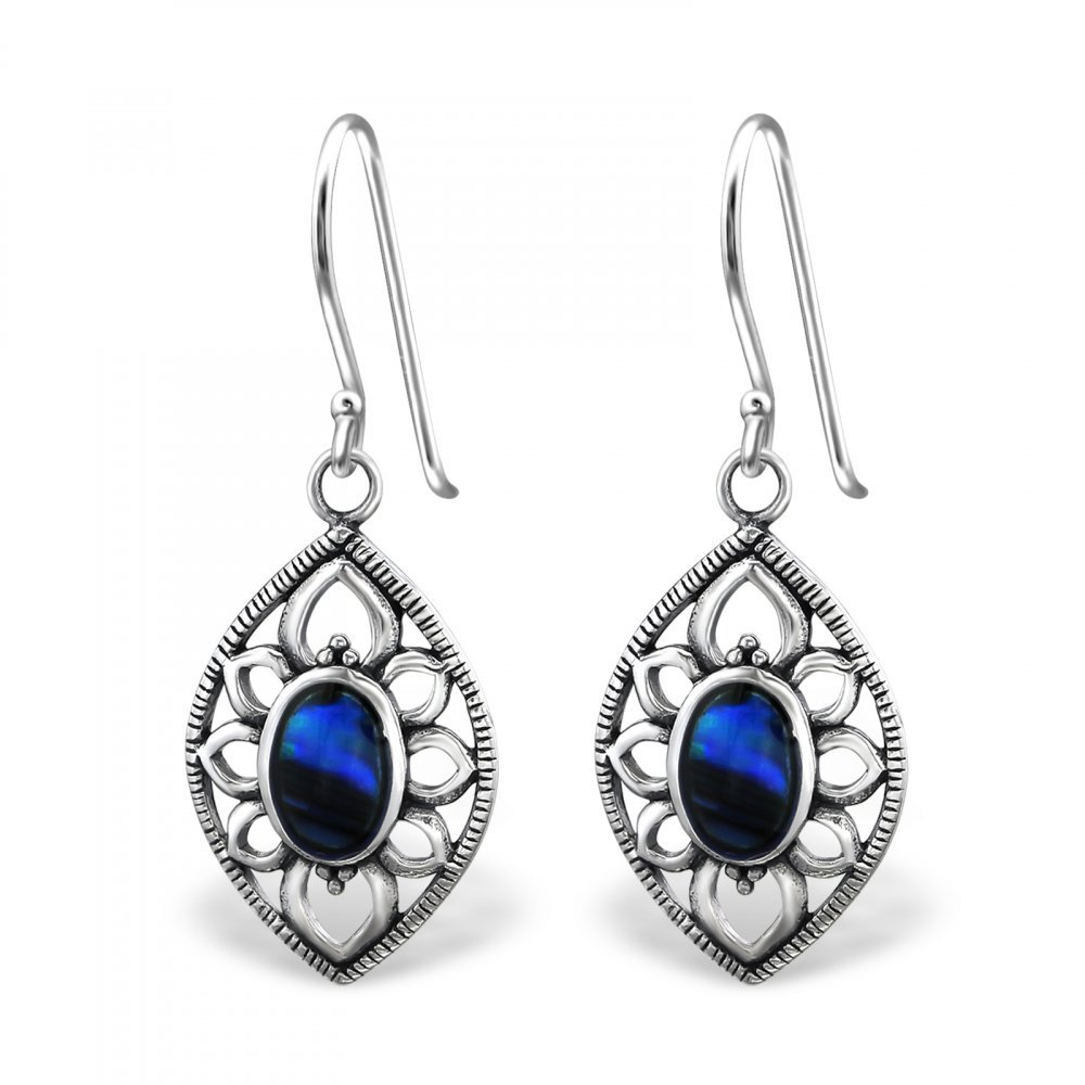 Sterling Silver Abalone Dark Blue Marquise Earrings with Epoxy and Shell
