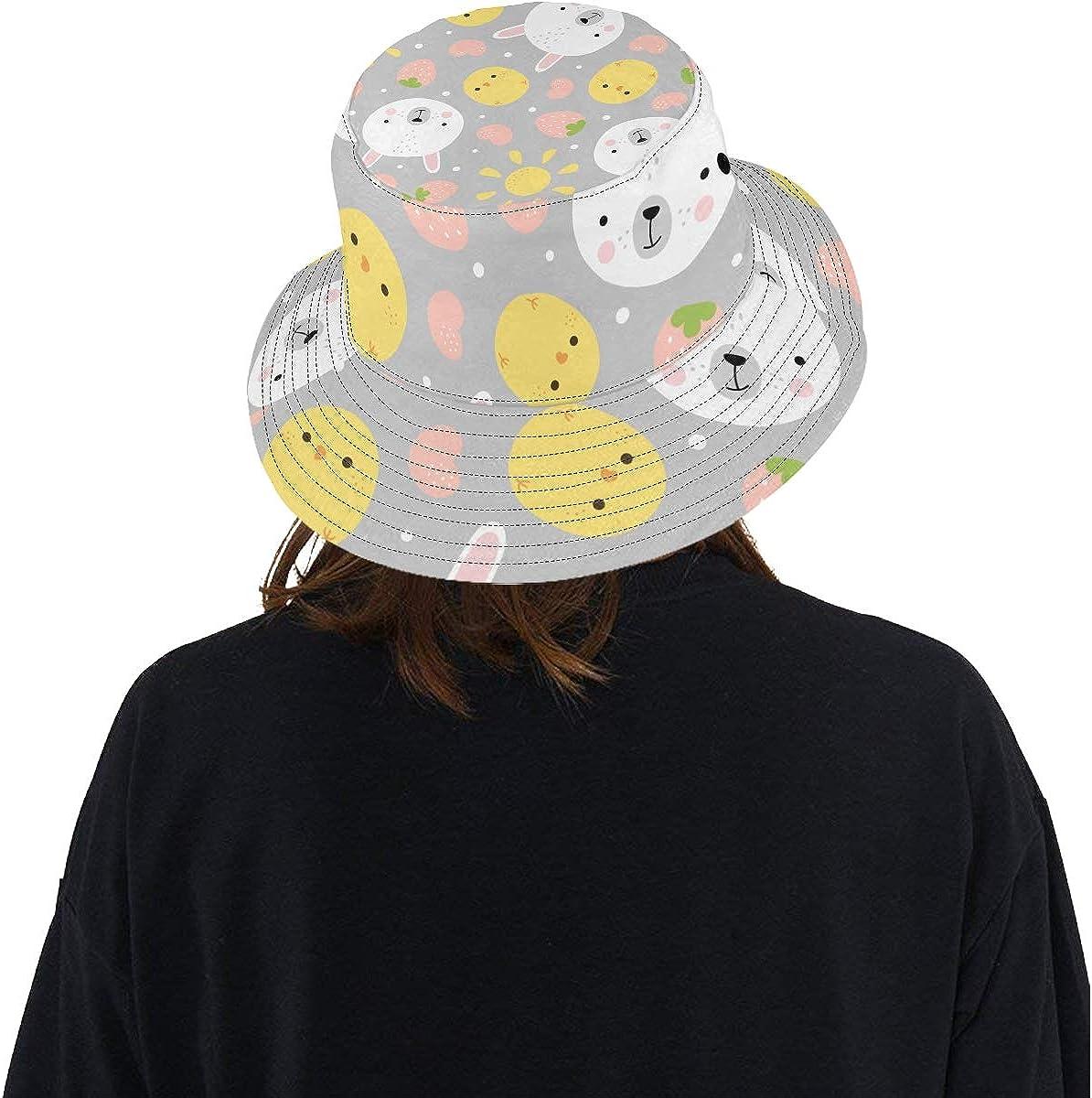 Hat Bucket Summer Unisex Bucket Hat Chicks Bunny Rabbit Animal Reversible Fisherman Cap Travel Rain Picnic Hat for Lady Boy