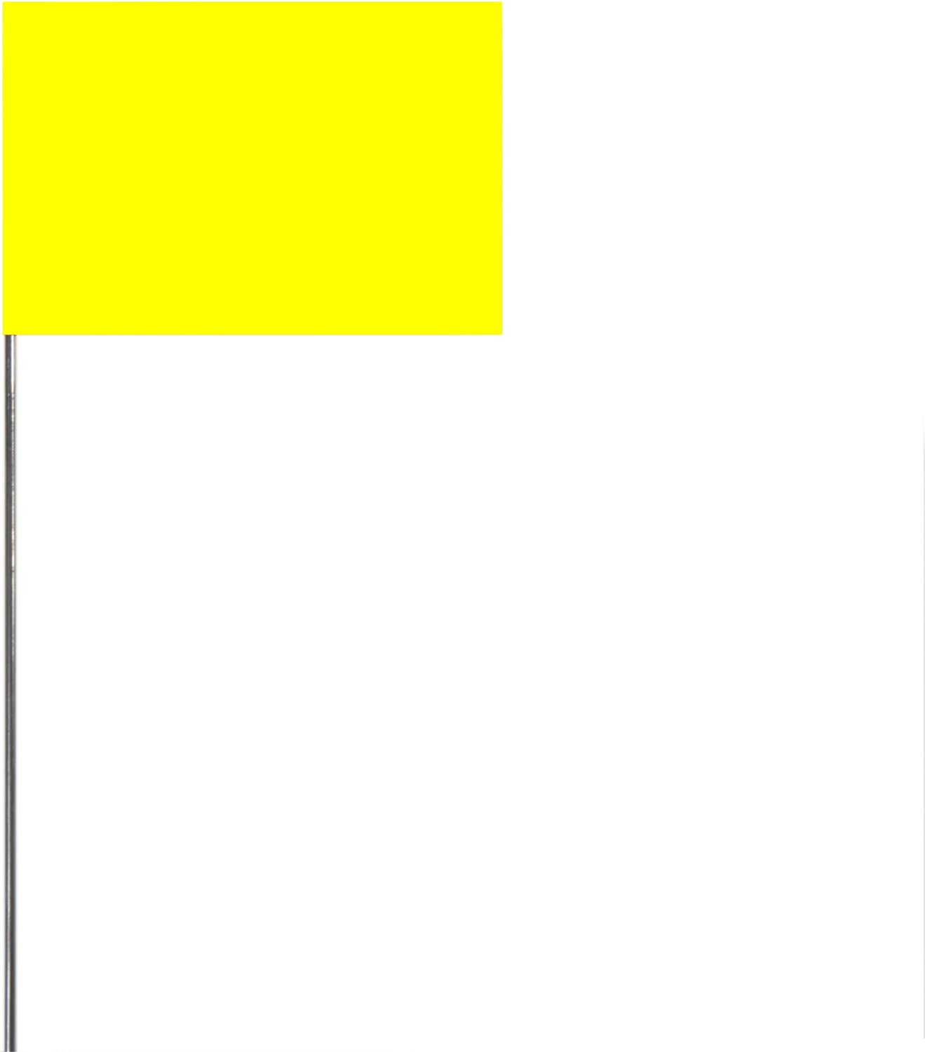 Swanson FY15100 2-Inch by 3-Inch Marking Flags with 15-Inch Wire Staffs Yellow 100-Pack