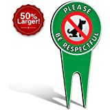 "Extra Large No Poop Dog Signs | Stop Dogs From Pooping On Your Lawn | Sign Politely Reads: ""Please Be Respectful"" (XLarge No Pooping)"