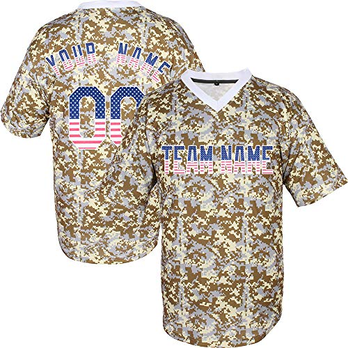 Camo V-Neck Custom Baseball Jersey for Men Mesh Big and Tall Embroidered Name & Numbers,Camo-American Flag Size 4XL