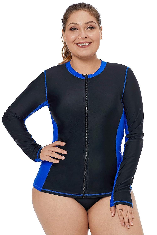 5ed89e0ae5 One Piece Long Sleeve Zipper Front Contrast Color Colorblock Padded Tankini  Rash Guard Rashguard Top Swimwear Swimsuit Bathing Suit Beach Wear  Beachwear ...