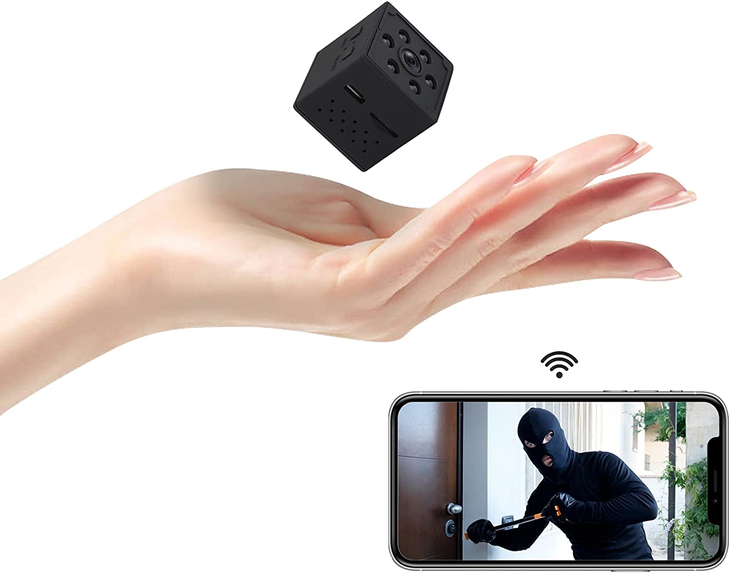 Mini Camera, CHARMINER 4K HD Web Camera, Mini Wireless Cam, Small WiFi Nanny Camera with Phone App Night Vision Motion Detection Portable Smart Camera for Indoor/Home/Apartment/Office(Black)