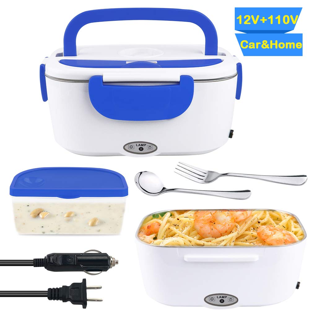 Electric Heating Bento Lunch Boxes - Yatuela Food Grade Material Portable Lunch Food Heater with Removable 304 Stainless Steel Leak-Proof Container for Car and Home Office Use 110V and 12V