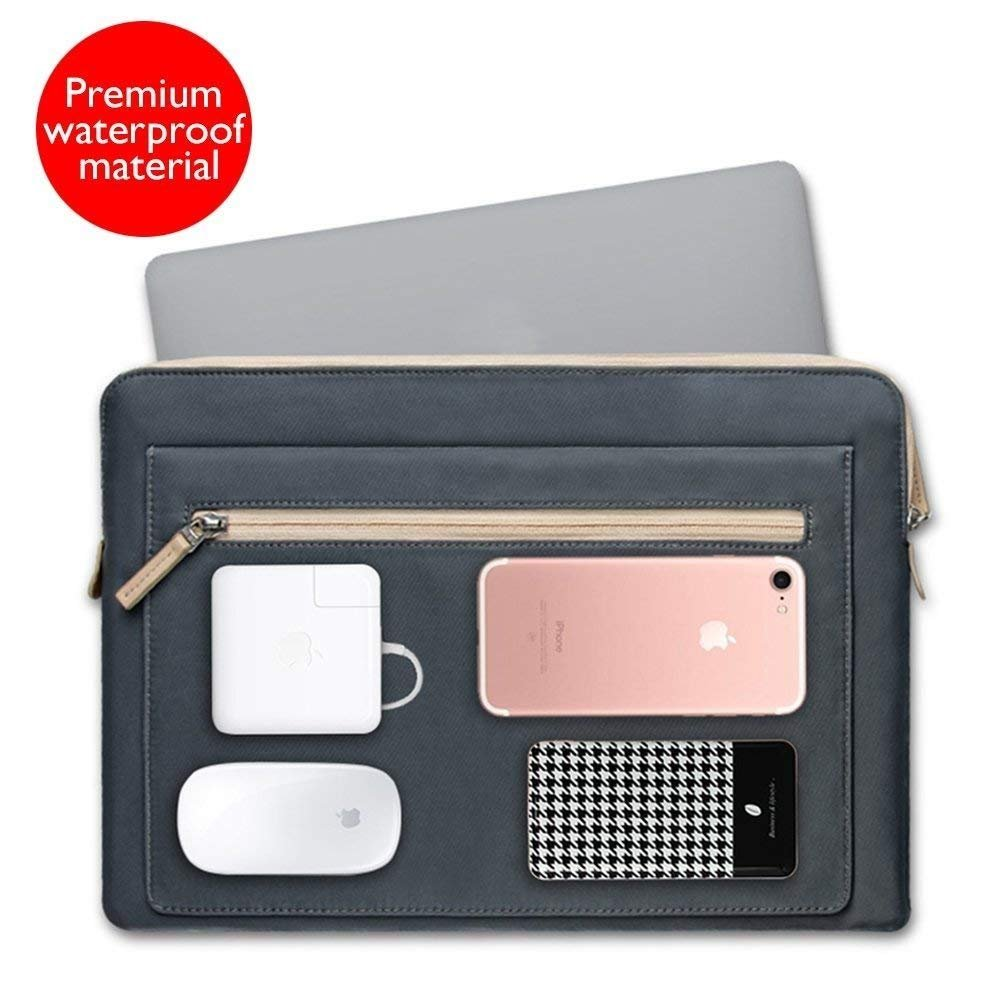 15-15.6 Inch Slim Laptop Sleeve Case with Handles and Pockets for MacBook Pro / Pro Retina, Multi-functional Shockproof Spill-Resistant Protective Computer Case 15 15.6 Inch Ultrabook Notebook Carrying Case Tablet Briefcase Cover,Grey WIWU WW-XZND