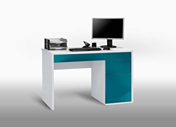 Matelpro bureau informatique design blanc bleu laqué mattea