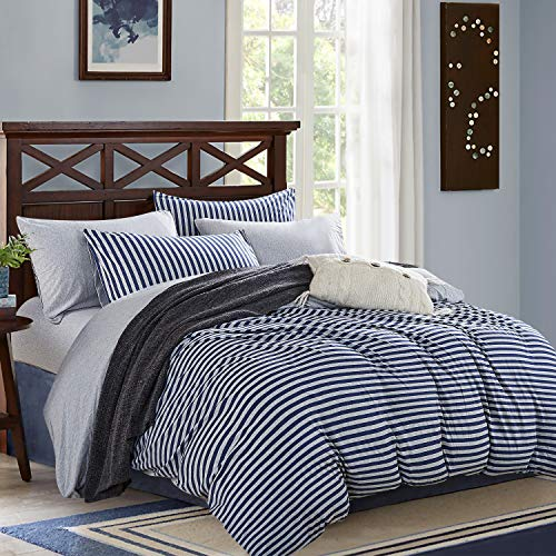 PURE ERA Jersey Knit Cotton Duvet Cover Sets Striped 3 Piece Home Bedding 1 Comforter Cover and 2 Pillow Shams Soft Comfy Blue Grey Queen Size