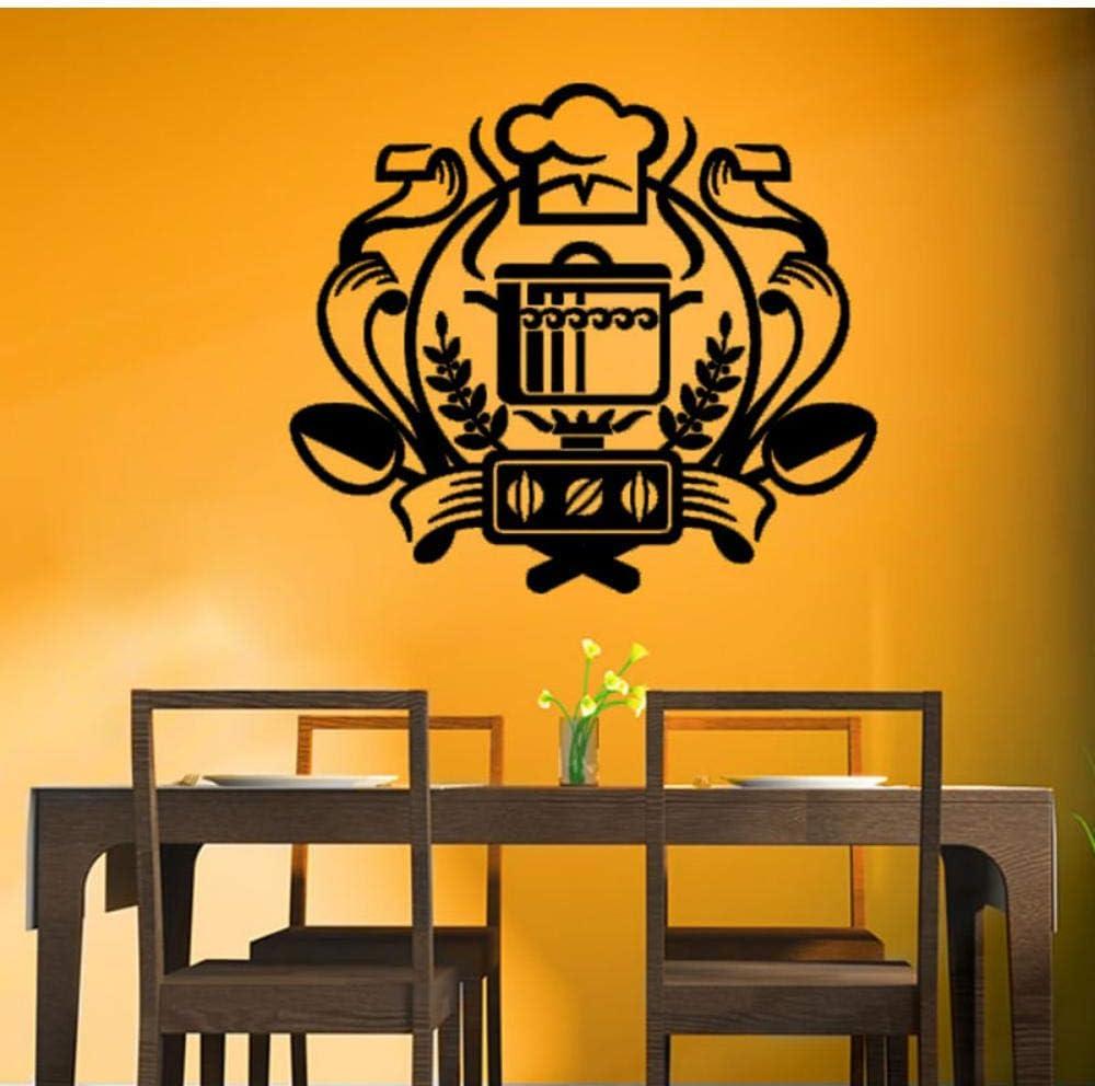 Chef Badge Tatuajes De Pared Cocina Etiqueta De La Pared Decoración Para El Hogar Caldero En La Estufa De Gas Decoración Murales De Arte 32X29Cm