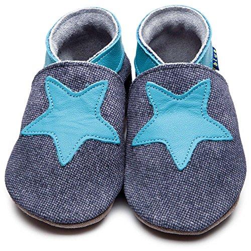 Inch Blue-Zapatos de niños bebé cochecito de funda de piel suave suela Starry denim azul