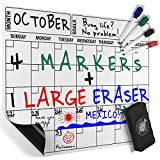 Magnetic Dry Erase Calendar Board, Monthly Refrigerator Calendar, 4 Colored Magnetic Markers 1 Eraser With Magnet For A Complete Set