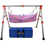 GS Gujarat Indian Style Portable Fully Folding Stainless Steel Baby Cradle with Smooth Cotton Hammock, New Born Baby Products, Godiyu