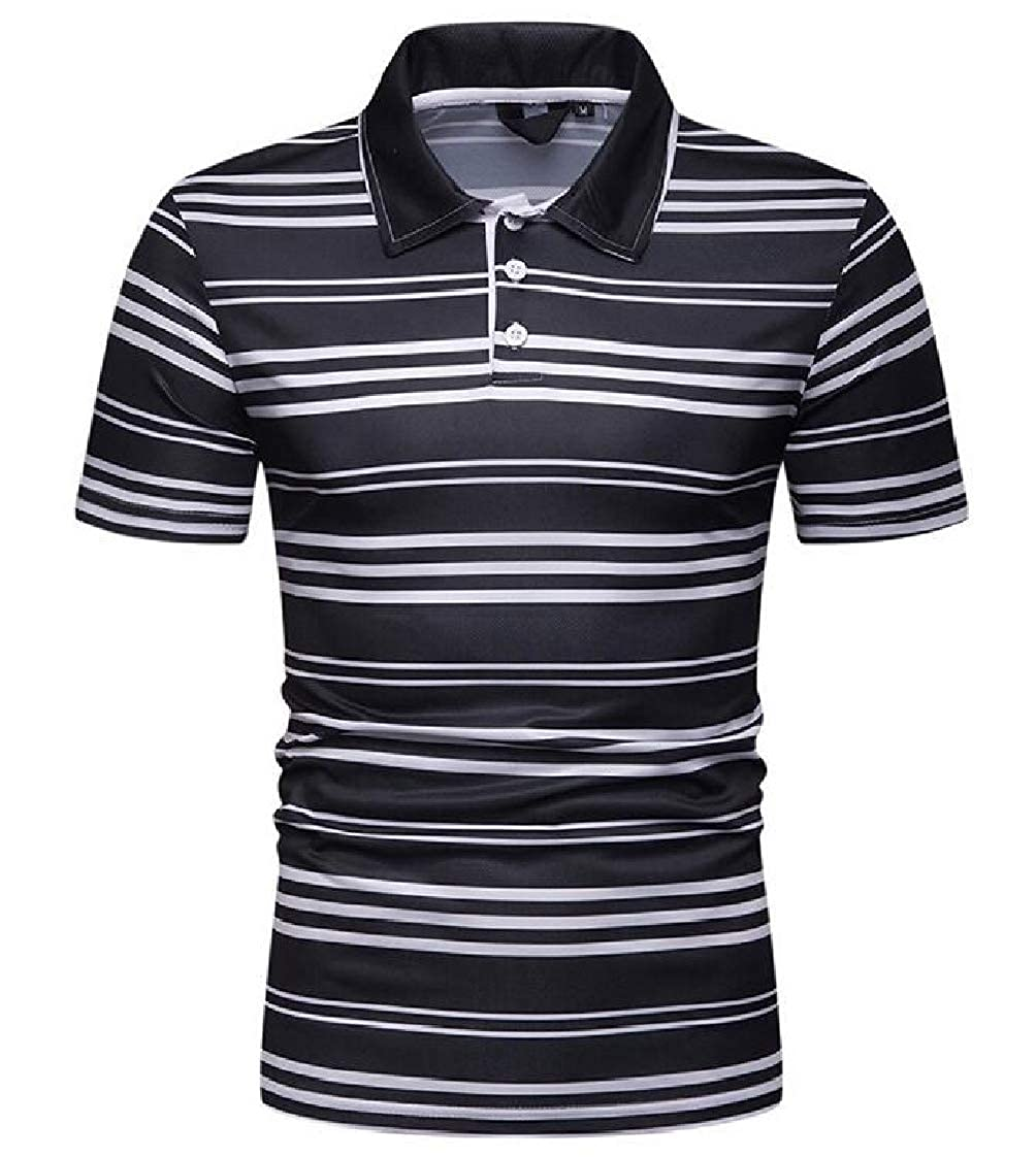 Prsun Men Short Sleeve Formal Spread Collar Horizontal Stripes Polo Shirt