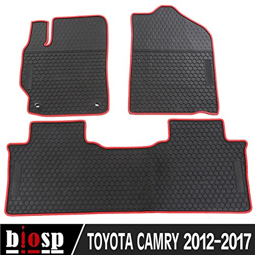 (biosp Fit 2012 - 2017 Toyota Camry Runner Front and Rear Floor Mats Set Heavy Duty Rubber Car Carpet)
