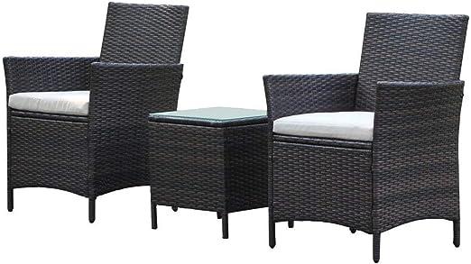 Patio al aire libre muebles de jardín, ratán mimbre sillas con mesa: Amazon.es: Jardín
