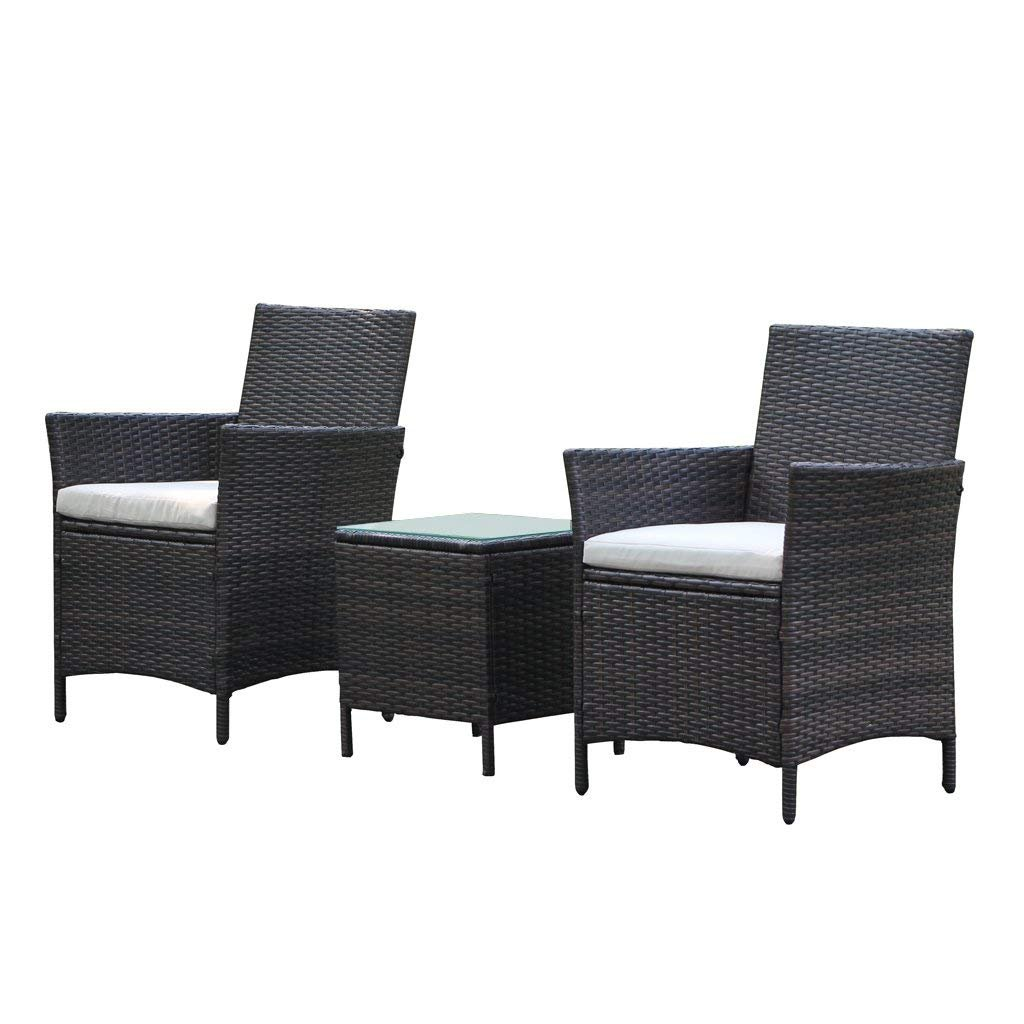 Amazon com viva home patio rattan outdoor garden furniture set of 3pcs wicker chairs with table garden outdoor