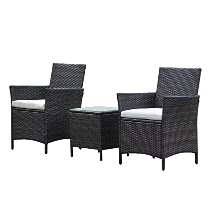 Awesome Viva Home Patio Rattan Outdoor Garden Furniture Set Of 3Pcs Wicker Chairs With Table Theyellowbook Wood Chair Design Ideas Theyellowbookinfo