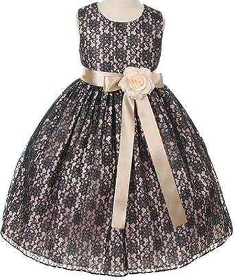 f698e9bb5880 Amazon.com  Floral Lace Overlay Elegant Flower Girl Dress  Clothing