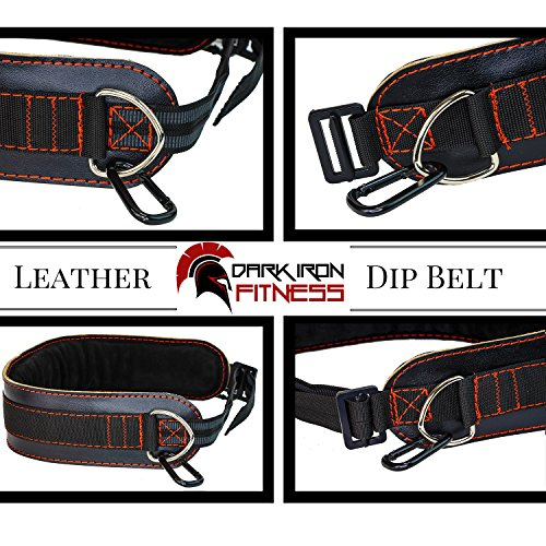 Leather Weightlifting Dip Belt for Weighted Tricep Dips and Pull Ups with Heavy Duty Dipping Weight Strap Attachment & Adjustable Buckle Stronger Than Polypro or Nylon Fitness Workout Power Belts